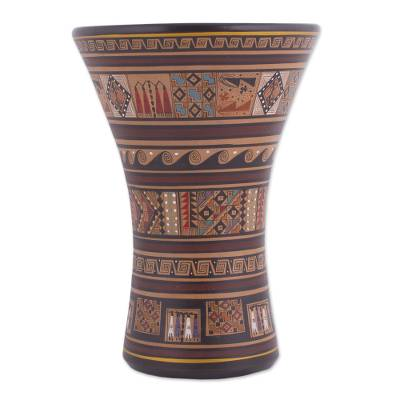 Traditional Inca Style Ceramic Decorative Vase From Peru Sacred