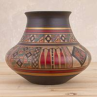 Ceramic decorative vase, 'Incan Ritual' - Hand-Painted Inca-Style Ceramic Decorative Vase from Peru