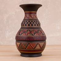 Ceramic decorative vase, 'Incan Ceremony' - Artisan-Crafted Ceramic Decorative Vase from Peru