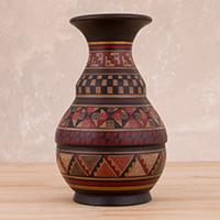 Ceramic decorative vase, 'Incan Ceremony'