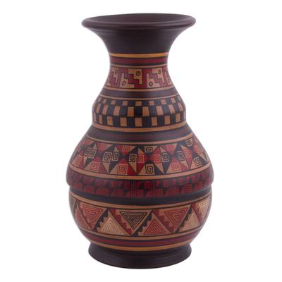 Ceramic decorative vase, 'Incan Ceremony' - Artisan-Crafted Ceramic Decorative Vase from Peru