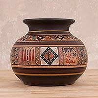 Ceramic decorative vase, 'Incan Pot' - Inca-Style Ceramic Decorative Vase Handcrafted in Peru
