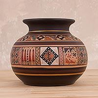 Ceramic decorative vase, 'Incan Pot'