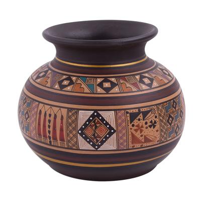 Ceramic decorative vase, 'Incan Pot' - Inca-Style Ceramic Decorative Vase Handcrafted in Peru