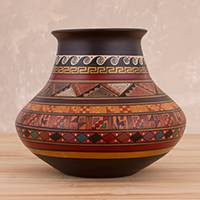 Ceramic decorative vase, 'Divine Inca' - Traditional Inca Ceramic Decorative Vase Crafted in Peru