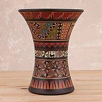 Ceramic decorative vase, 'Ceremonial Kero' - Cultural Inca-Style Ceramic Decorative Vase from Peru