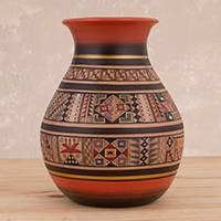 Ceramic decorative vase, 'Iconic Container' - Hand-Painted Ceramic Decorative Vase Crafted in Peru