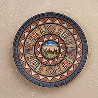 Ceramic decorative plate, 'Inca Nature' - Inca-Style Ceramic Decorative Plate Handcrafted in Peru
