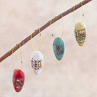 Ceramic ornaments, 'Ocarina Song' (set of 4) - Four Handcrafted Ceramic Ocarina Ornaments from Peru