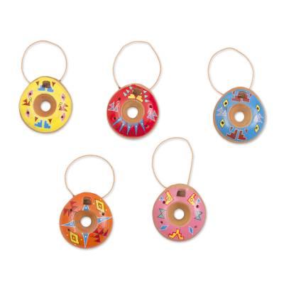 Ceramic ornaments, 'Color of Happiness' (set of 5) - Five Handcrafted Ceramic Ornaments from Peru