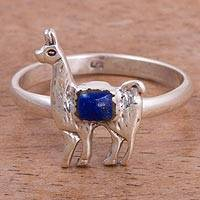 Lapis lazuli cocktail ring, 'Andean Llama' - Lapis Lazuli and Silver Llama Cocktail Ring from Peru
