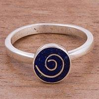 Lapis lazuli cocktail ring, 'Infinite Universe' - Spiraling Lapis Lazuli Cocktail Ring from Peru