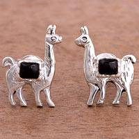 Onyx stud earrings, 'Andean Llamas' - Onyx and Silver Llama Stud Earrings from Peru