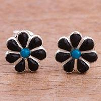 Onyx and chrysocolla stud earrings, 'Children of Nature' - Floral Onyx and Chrysocolla Stud Earrings from Peru