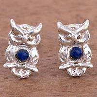 Lapis lazuli stud earrings, 'Guardians of Cuzco' - Lapis Lazuli Owl Stud Earrings from Peru
