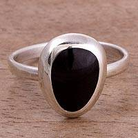 Onyx cocktail ring, 'Inca Nobility' - Onyx and Sterling Silver Cocktail Ring from Peru