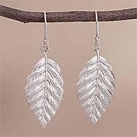 Silver dangle earrings, 'Autumn Nostalgia' - Leaf-Shaped Silver Dangle Earrings Crafted in Peru