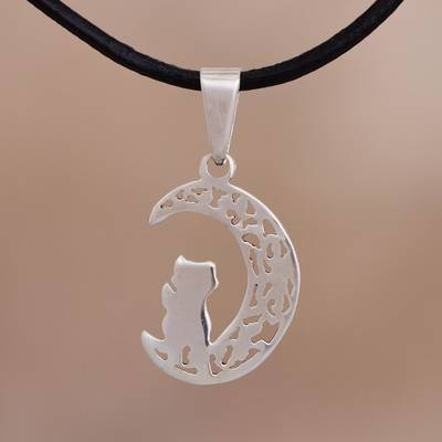 Silver pendant necklace, 'Nocturnal Date' - Silver Cat and Crescent Moon Pendant Necklace from Peru
