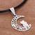 Silver pendant necklace, 'Nocturnal Date' - Silver Cat and Crescent Moon Pendant Necklace from Peru (image 2b) thumbail
