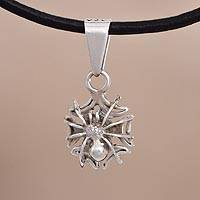 Silver pendant necklace, 'Watchful Hunter' - Silver Spider Pendant Necklace from Peru
