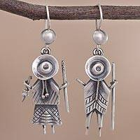 Sterling silver dangle earrings, 'Cuzco Couple' - Cultural Sterling Silver Dangle Earrings from Peru