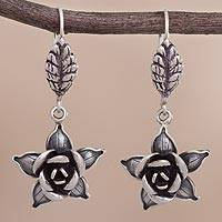Sterling silver dangle earrings, 'Enamored Roses' - Rose-Shaped Sterling Silver Dangle Earrings from Peru