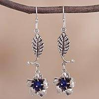Lapis lazuli dangle earrings, 'Beauty of Blue' - Floral Lapis Lazuli Dangle Earrings from Peru