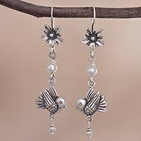 Sterling silver dangle earrings, 'Sunshine Melody' - Bird-Themed Sterling Silver Dangle Earrings from Peru