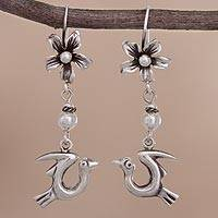 Sterling silver dangle earrings, 'Lovely Flight' - Sterling Silver Floral Bird Dangle Earrings from Peru
