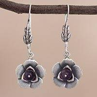 Amethyst dangle earrings, 'Purple Blooms' - Sterling Silver Flower Dangle Earrings from Peru