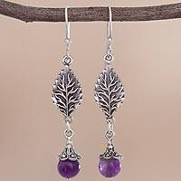 Amethyst dangle earrings, 'Imperial Leaves' - Leaf-Shaped Amethyst Dangle Earrings from Peru