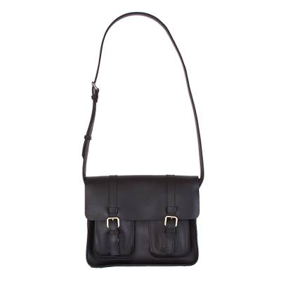 Novica Leather shoulder bag, African Energy