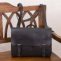 Leather messenger bag, 'Vintage Traveler in Black' - Handcrafted Leather Messenger Bag in Black from Peru