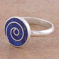 Lapis lazuli cocktail ring, 'Blue Cyclone' - Spiral Lapis Lazuli and Silver Cocktail Ring from Peru