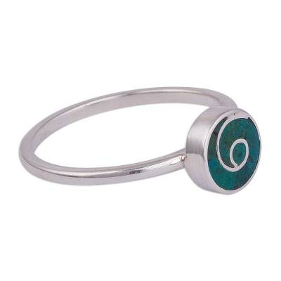 Swirl Motif Chrysocolla Cocktail Ring from Peru