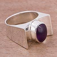 Amethyst cocktail ring, 'Monumental Oval' - Amethyst and Sterling Silver Cocktail Ring from Peru