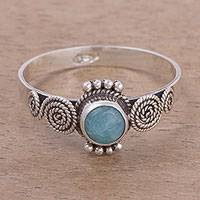 Amazonite solitaire ring, 'Spiral Ropes' - Spiral Motif Amazonite Solitaire Ring from Peru