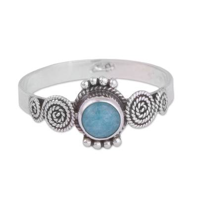 Spiral Motif Amazonite Solitaire Ring from Peru