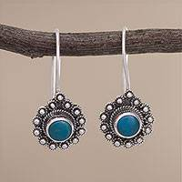 Chrysocolla drop earrings, 'Blue-Green Halos' - Circular Chrysocolla and Silver Drop Earrings from Peru