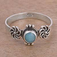 Amazonite solitaire ring, 'Lovely Cyclones' - Amazonite and Sterling Silver Solitaire Ring from Peru