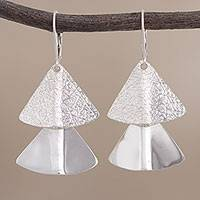 Sterling silver dangle earrings, 'Fabulous Fans' - Fan-Shaped Sterling Silver Dangle Earrings from Peru