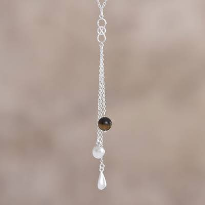 Tiger's eye Y necklace, 'Spheres of Desire' - Tiger's Eye and Sterling Silver Y Necklace from Peru