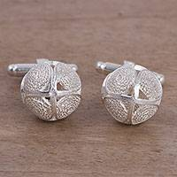 Sterling silver cufflinks, 'Make a Statement' - Sterling Silver Filigree Cufflinks from Peru