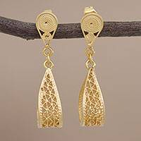 Gold plated filigree dangle earrings, 'Glistening Utopia'