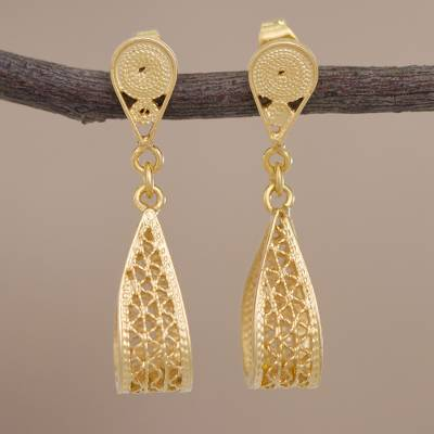 Gold plated filigree dangle earrings, 'Glistening Utopia' - Gold Plated Sterling Silver Filigree Earrings from Peru
