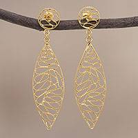 Gold plated sterling silver filigree dangle earrings, 'Glistening Waves'