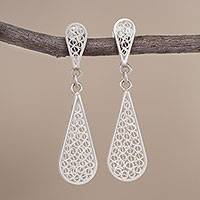 Sterling silver filigree dangle earrings, 'Miraculous Tears'
