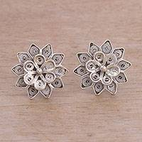 Sterling silver filigree button earrings, 'Fantasy Stars'