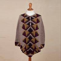 100% alpaca poncho, 'Crossroads' - 100% Alpaca Taupe Poncho with Geometric Incan Motifs