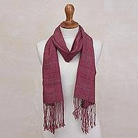 Baby alpaca blend scarf, 'Square Fantasy' - Peruvian Loom Woven Acrylic and Baby Alpaca Scarf in Red